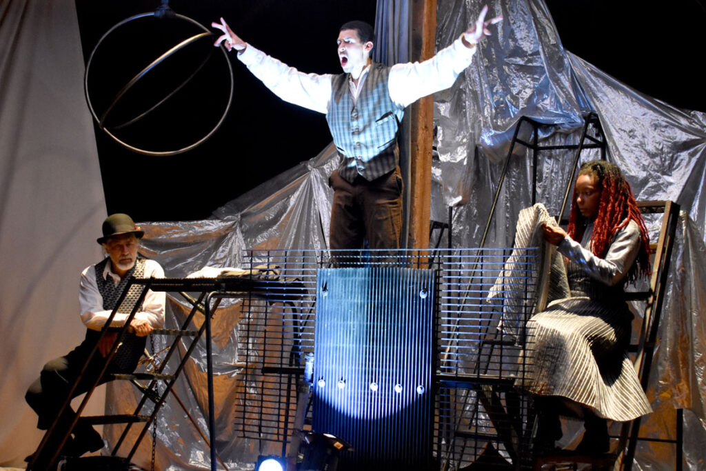 """Double Edge Theatre rehearses their new spectacle """"Memories and Dreams"""" at the company's farm-theater in Ashfield, July 19, 2021. (©Greg Cook photo)"""
