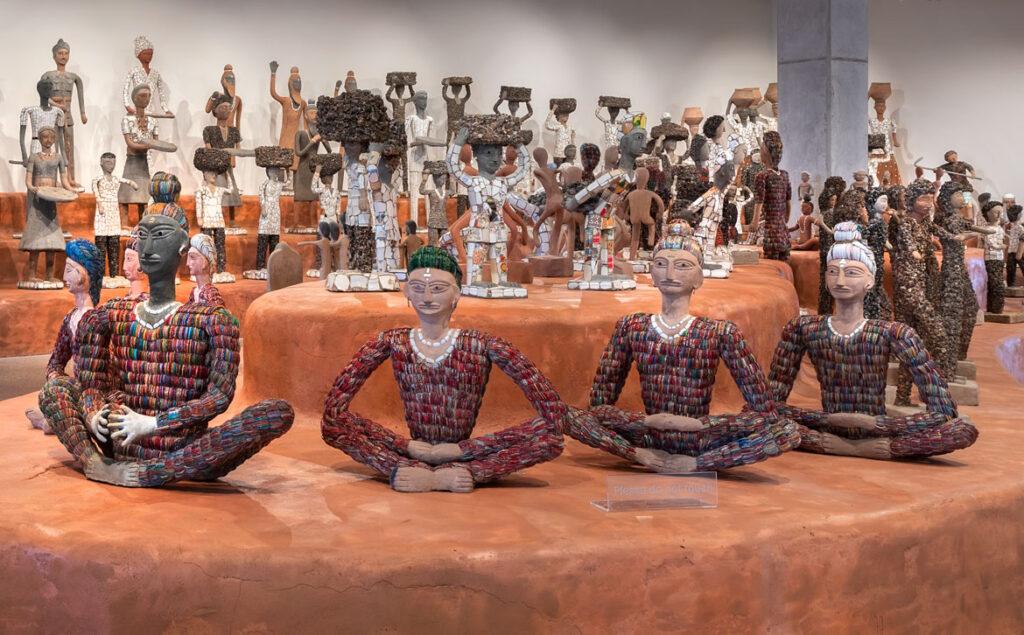 Nek Chand sculptures at the Art Preserve of the Kohler Arts Center at Sheboygan, Wisconsin. (Photo by Rich Maciejewski, courtesy Kohler Arts Center)