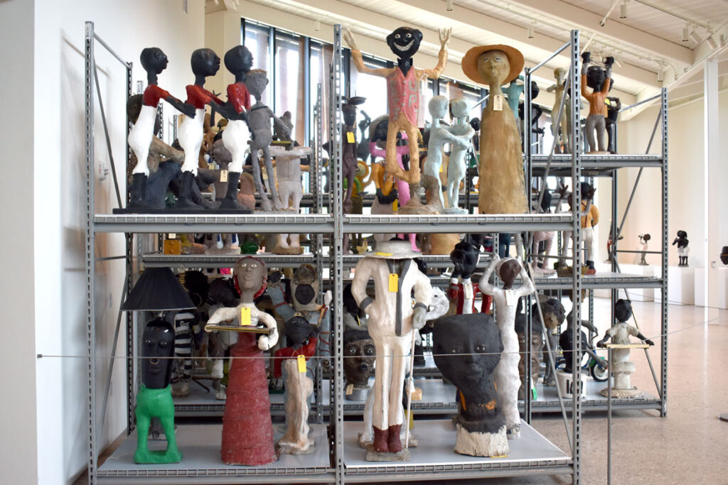 Sculptures by Dr. Charles Smith at the Art Preserve of the Kohler Arts Center in Sheboygan, Wisconsin, July 2, 2021. (©Greg Cook photo)
