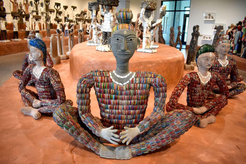 Nek Chand sculptures at the Art Preserve of the Kohler Arts Center in Sheboygan, Wisconsin, July 2, 2021. (©Greg Cook photo)