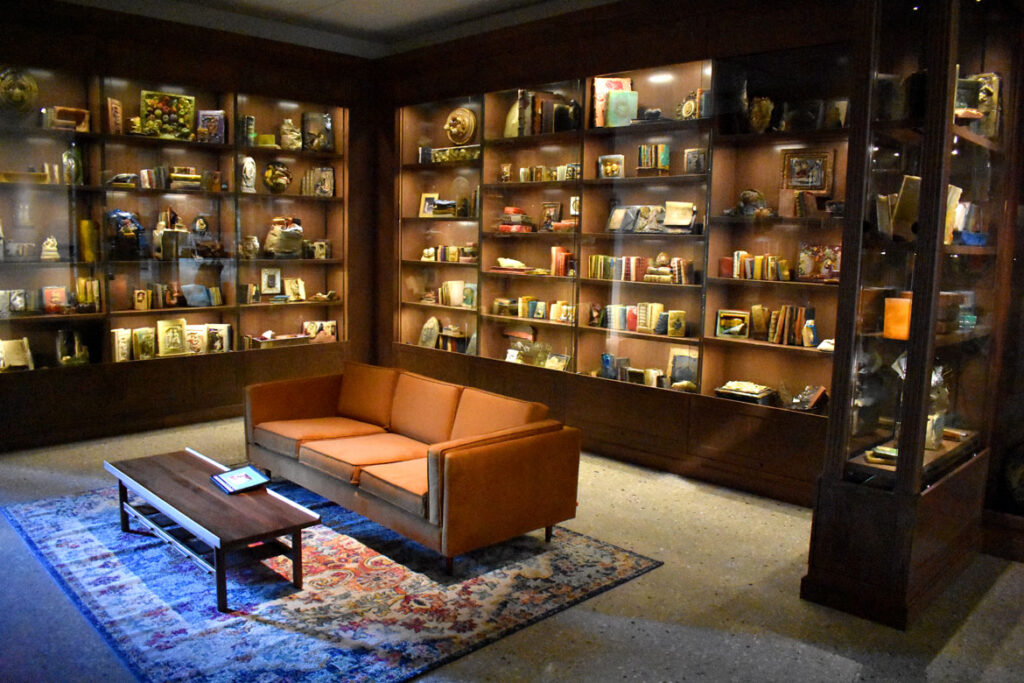 """Stella Waitzkin's """"The Lost Library"""" at the Art Preserve of the Kohler Arts Center in Sheboygan, Wisconsin, July 2, 2021. (©Greg Cook photo)"""
