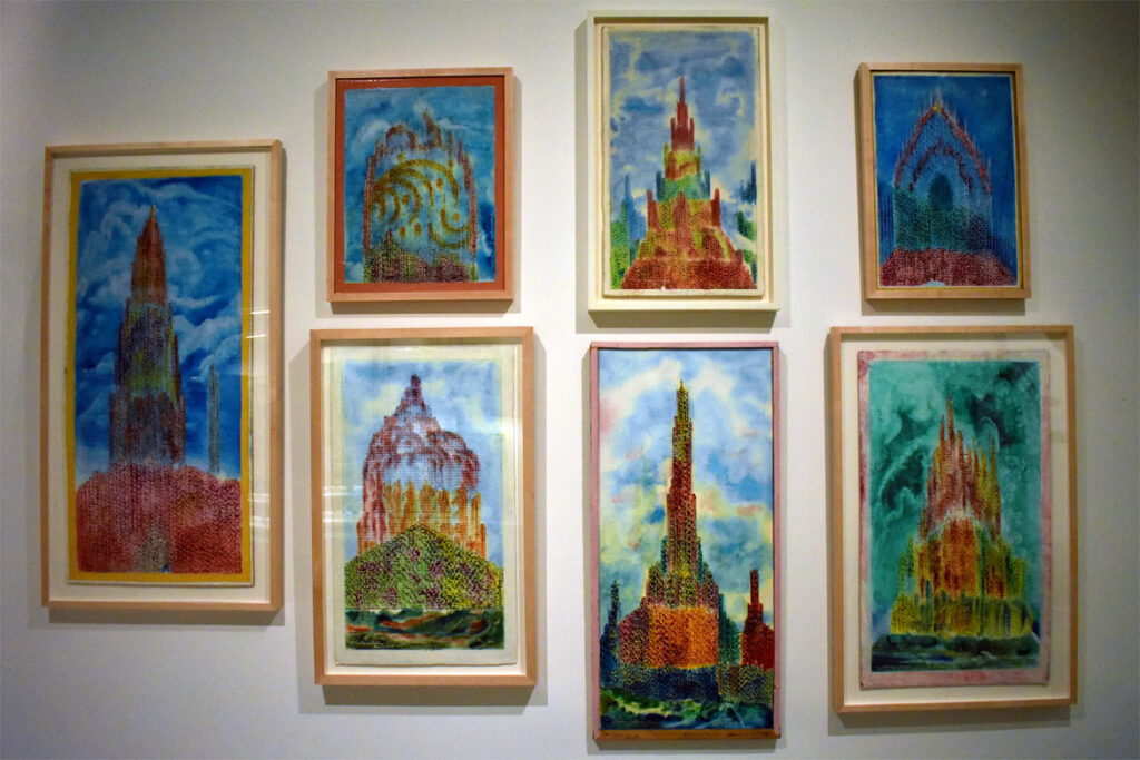 Eugene Von Bruenchenhein's paintings of visionary cities at the Art Preserve of the Kohler Arts Center in Sheboygan, Wisconsin, July 2, 2021. (©Greg Cook photo)