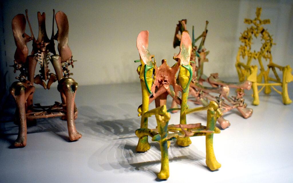 Eugene Von Bruenchenhein's thrones made of chicken bones at the Art Preserve of the Kohler Arts Center in Sheboygan, Wisconsin, July 2, 2021. (©Greg Cook photo)