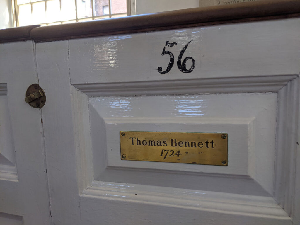 The pew of Thomas Bennett, who fashioned the red wooden case with bronze moldings, for the 1726 Avery-Bennett clock at Boston's Old North Church. (Courtesy Old North Church & Historic Site)