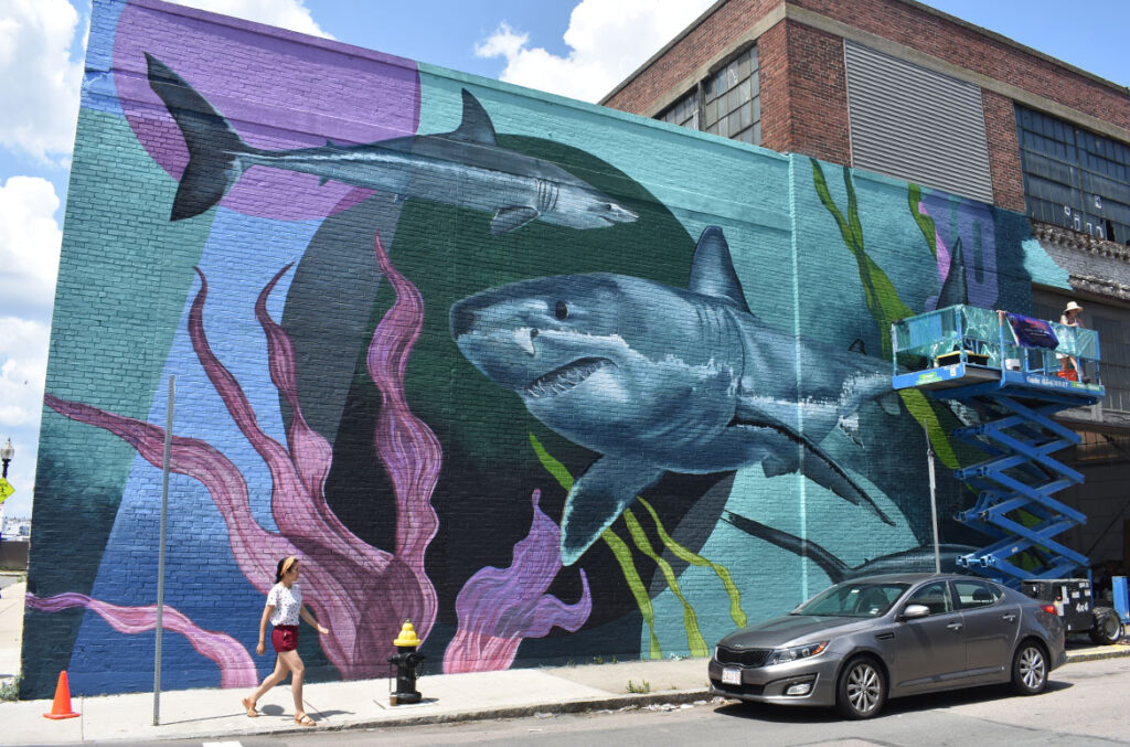 """Lowell artist Sophy Tuttle's mural at 60 Border St., East Boston, for the """"Sea Walls"""" mural project, July 23, 2021. (©Greg Cook photo)"""