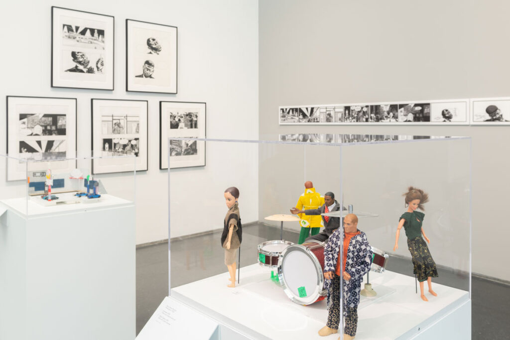"""Kerry James Marshall """"Rhythm Mastr"""" comics and doll models. In """"Chicago Comics"""" at Chicago's Museum of Contemporary Art, 2021. (Photo: Nathan Keay, © MCA Chicago)"""