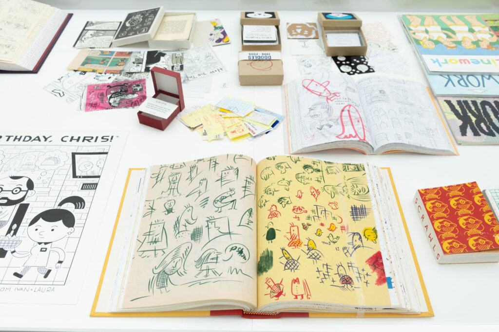"""Ivan Brunetti, sketchbook, 2000s. In """"Chicago Comics"""" at Chicago's Museum of Contemporary Art, 2021. (Photo: Nathan Keay, © MCA Chicago)"""