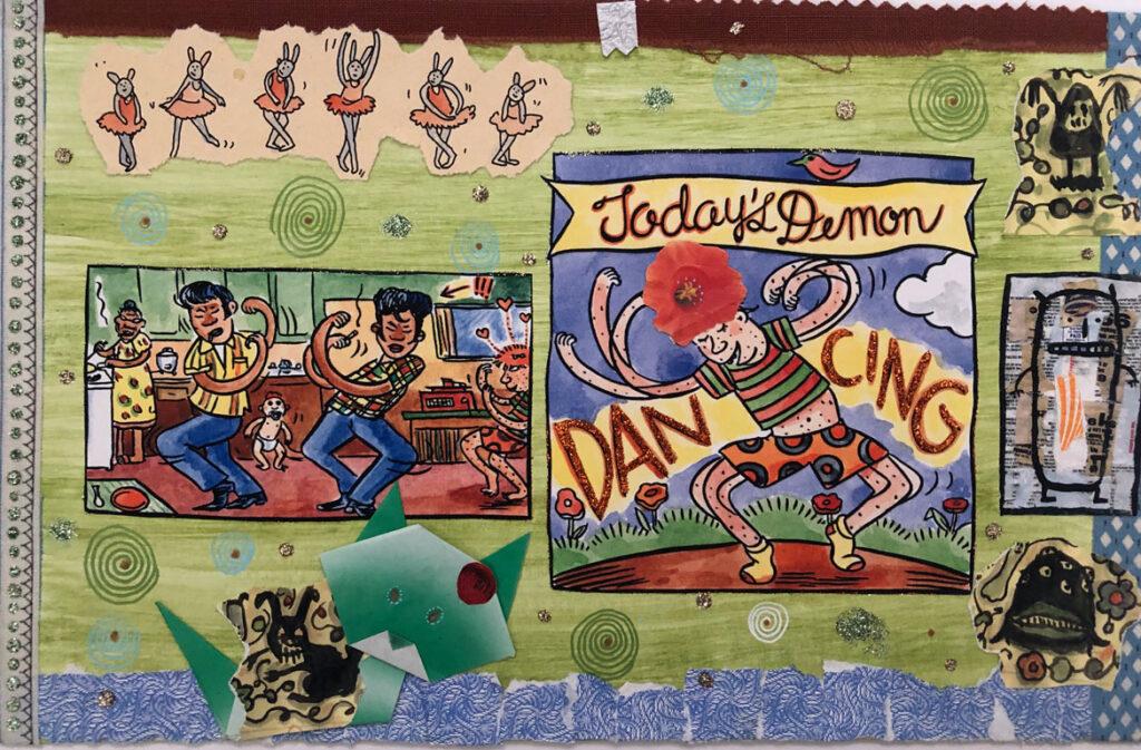 "Lynda Barry, ""100 Demons: Dancing,"" 2000-02. (Courtesy Adam Baumgold Fine Art)"