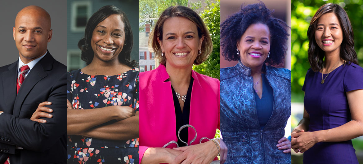 2021 candidates for Boston mayor (from left): John Barros, Andrea Campbell, Annissa Essaibi George, Kim Janey, Michelle Wu. (Courtesy the candidates)