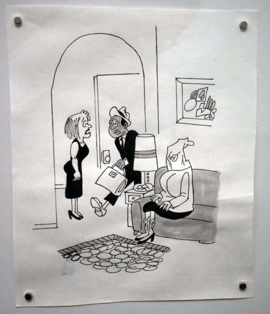 """Charles Johnson, """"Brace yourself, mother is visiting again"""" from """"Black Humor,"""" 1970, ink on paper redrawn 2020. In """"Chicago Comics"""" at Chicago's Museum of Contemporary Art, July 3, 2021. (©Greg Cook photo)"""