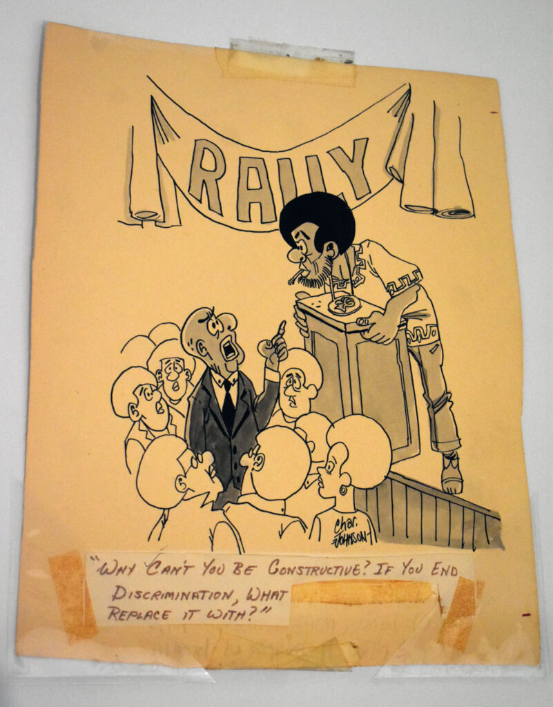 """Charles Johnson, from """"Beautiful Black Humor for Everyone,"""" 1971, ink on paper. In """"Chicago Comics"""" at Chicago's Museum of Contemporary Art, July 3, 2021. (©Greg Cook photo)"""