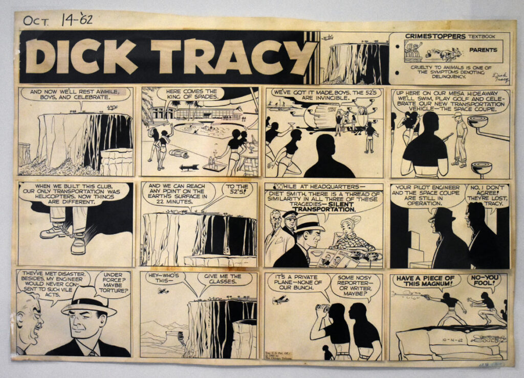 """Chester Gould, """"Dick Tracy,"""" 1962, ink on board. In """"Chicago Comics"""" at Chicago's Museum of Contemporary Art, July 3, 2021. (©Greg Cook photo)"""