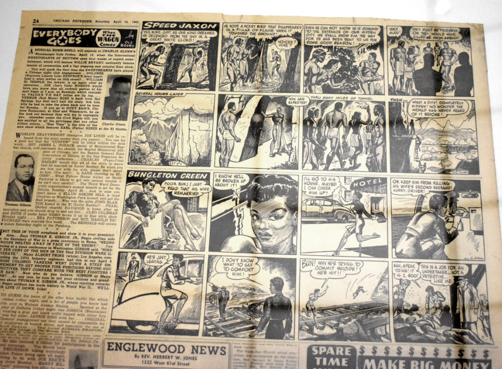 """Jay Jackson, """"Bungleton Green"""" as printed in Chicago Defender, 1944-45. In """"Chicago Comics"""" at Chicago's Museum of Contemporary Art, July 3, 2021. (©Greg Cook photo)"""