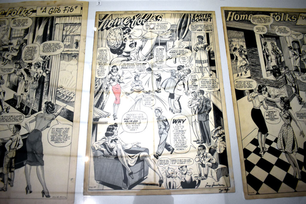 """Jay Jackson, """"Home Folks: A Glib Fib,"""" 1954, ink on board. In """"Chicago Comics"""" at Chicago's Museum of Contemporary Art, July 3, 2021. (©Greg Cook photo)"""