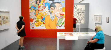 """Gallery with enlargement of Jay Lynch's cover for """"Arcade No. 5,"""" 1976. In """"Chicago Comics"""" at Chicago's Museum of Contemporary Art, July 3, 2021. (©Greg Cook photo)"""