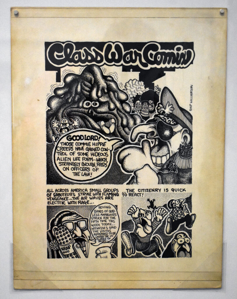 """Skip Williamson, """"Class War Comix,"""" page 1, c. 1970, ink over blue pencil and Wipe-Out on illustration board. In """"Chicago Comics"""" at Chicago's Museum of Contemporary Art, July 3, 2021. (©Greg Cook photo)"""