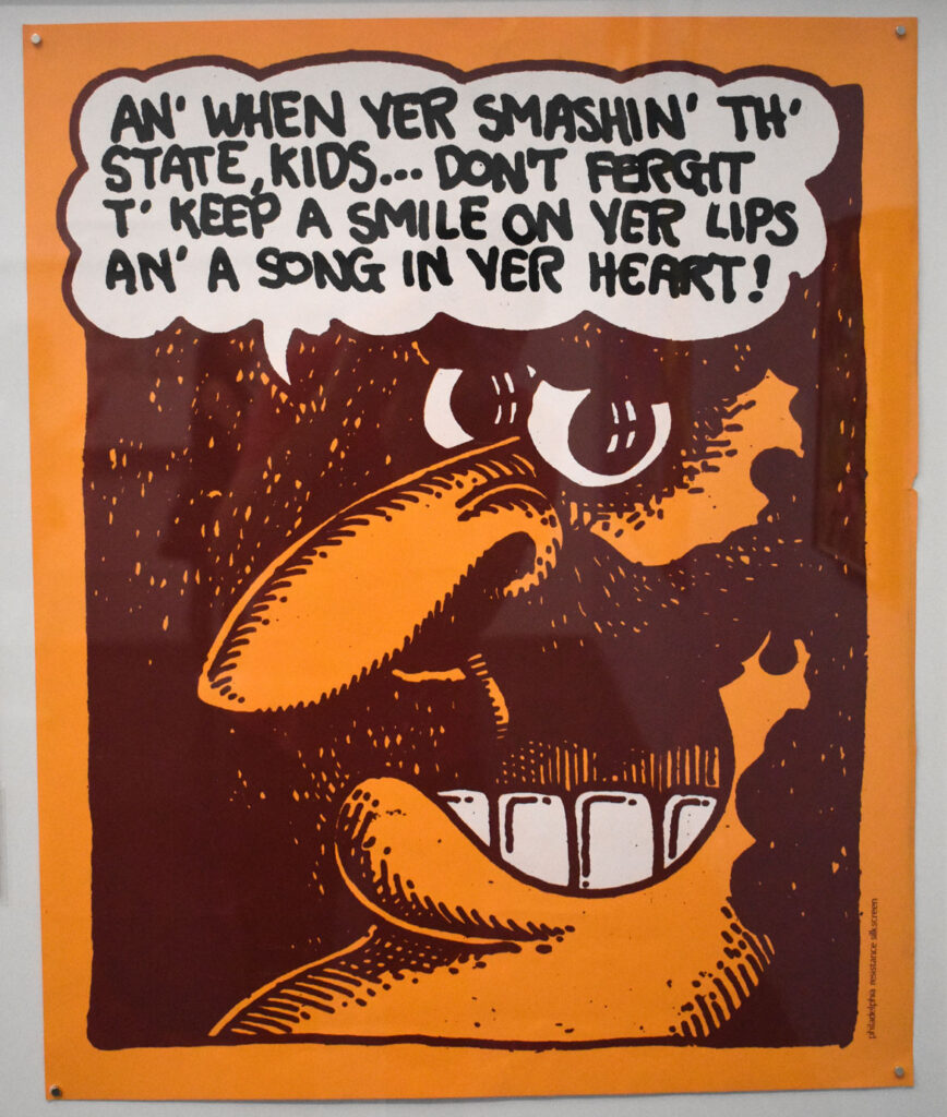 """Skip Williamson, """"An' When Yer Smashing' Th' State, Kids,"""" 1971, ink on paper. In """"Chicago Comics"""" at Chicago's Museum of Contemporary Art, July 3, 2021. (©Greg Cook photo)"""