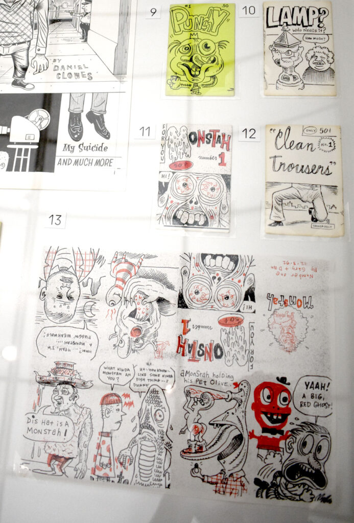 """Photocopied mini comics collaborations by Terry LaBan, Gary Lieb, Daniel Clowes, Chris Ware and Archer Prewitt, 1991 and '92. In """"Chicago Comics"""" at Chicago's Museum of Contemporary Art, July 3, 2021. (©Greg Cook photo)"""