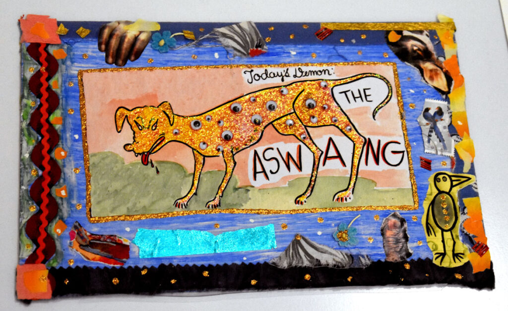 """Lynda Barry, """"Today's Demon: Aswang,"""" 2000-02, ink and watercolor on board. In """"Chicago Comics"""" at Chicago's Museum of Contemporary Art, July 3, 2021. (©Greg Cook photo)"""
