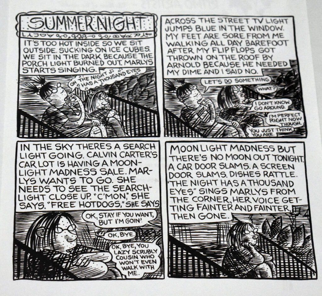 """Lynda Barry, """"Summer Night,"""" 2001, ink on paper. In """"Chicago Comics"""" at Chicago's Museum of Contemporary Art, July 3, 2021. (©Greg Cook photo)"""