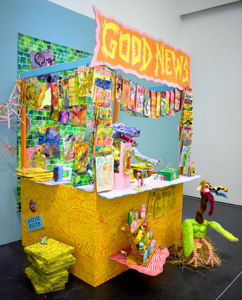 """Molly Colleen O'Connell, """"Extra Extra Extra,"""" 2020-21, multimedia installation. In """"Chicago Comics"""" at Chicago's Museum of Contemporary Art, July 3, 2021. (©Greg Cook photo)"""