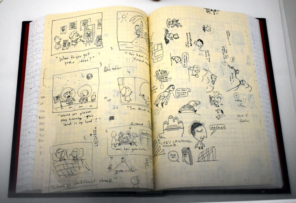 """Ivan Brunetti, sketchbook, 2000s. In """"Chicago Comics"""" at Chicago's Museum of Contemporary Art, July 3, 2021. (©Greg Cook photo)"""