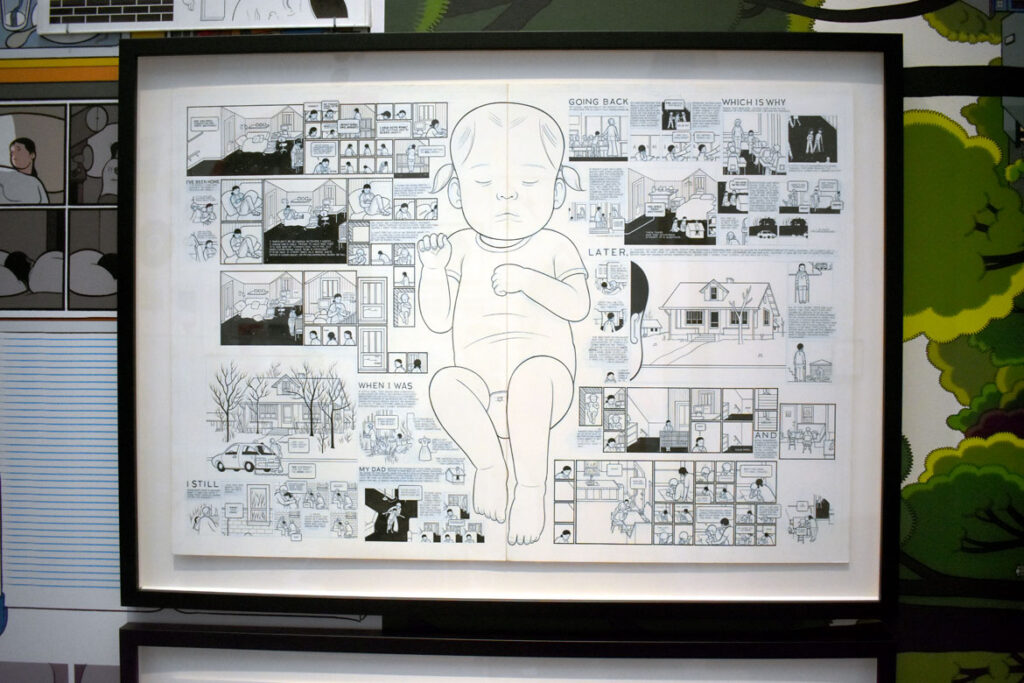 """""""Building Stories"""" by Chris Ware. In """"Chicago Comics"""" at Chicago's Museum of Contemporary Art, July 3, 2021. (©Greg Cook"""