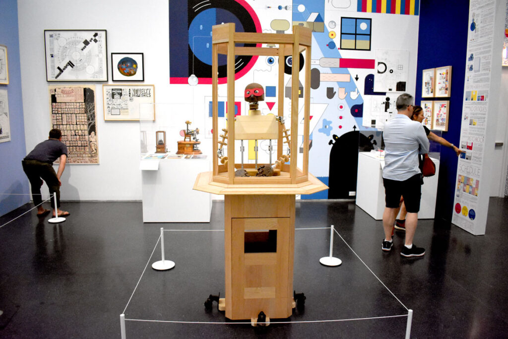"""Chris Ware gallery in """"Chicago Comics"""" at Chicago's Museum of Contemporary Art, July 3, 2021. (©Greg Cook"""