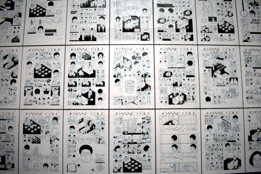 """Chris Ware, """"Joanne Cole,"""" 2012-18, ink, pencil and white gouache on Bristol board. In """"Chicago Comics"""" at Chicago's Museum of Contemporary Art, July 3, 2021. (©Greg Cook photo)"""