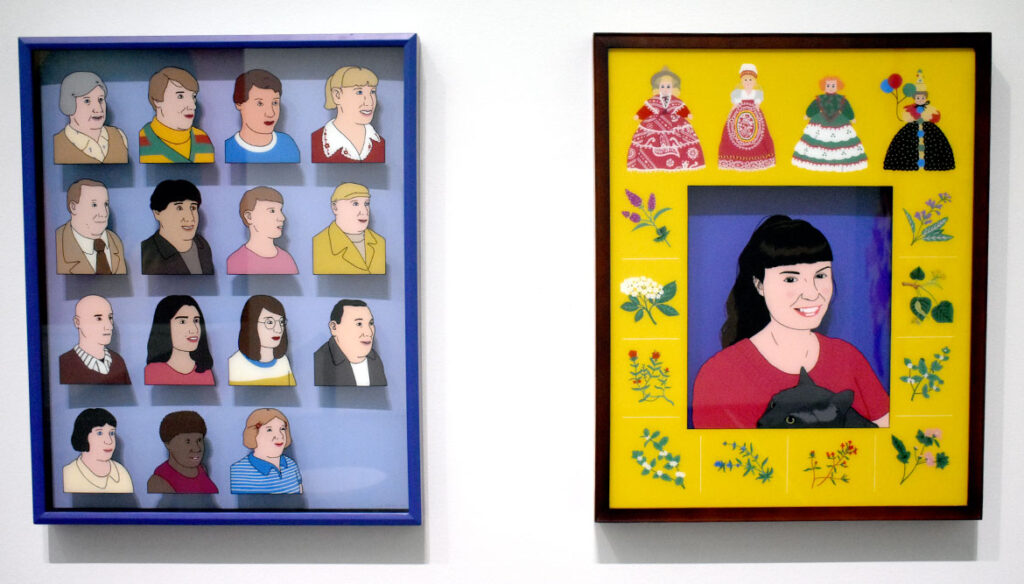"""Nick Drnaso, """"15 Characters"""" (left) and """"Sarah,"""" 2017, acrylic on glass. In """"Chicago Comics"""" at Chicago's Museum of Contemporary Art, July 3, 2021. (©Greg Cook photo)"""