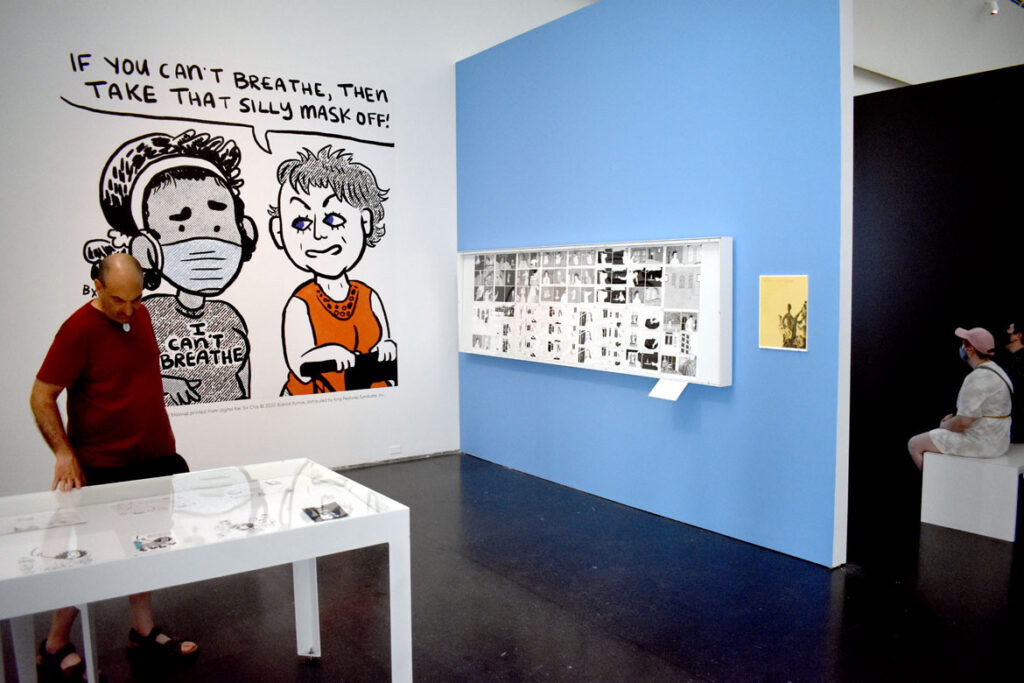 """Gallery with enlargement of Bianca Xunise's 2020 """"Six Chix"""" strip. In """"Chicago Comics"""" at Chicago's Museum of Contemporary Art, July 3, 2021. (©Greg Cook photo)"""