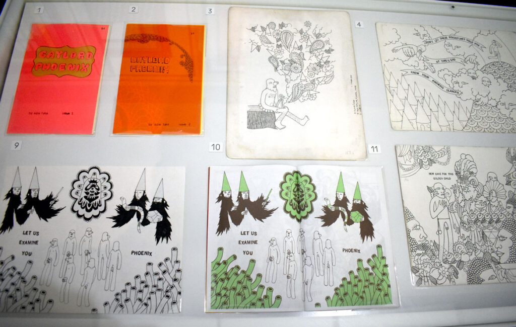 """Edie Fake, """"Gaylord Phoenix,"""" 2000s, ink on paper and zines. In """"Chicago Comics"""" at Chicago's Museum of Contemporary Art, July 3, 2021. (©Greg Cook photo)"""