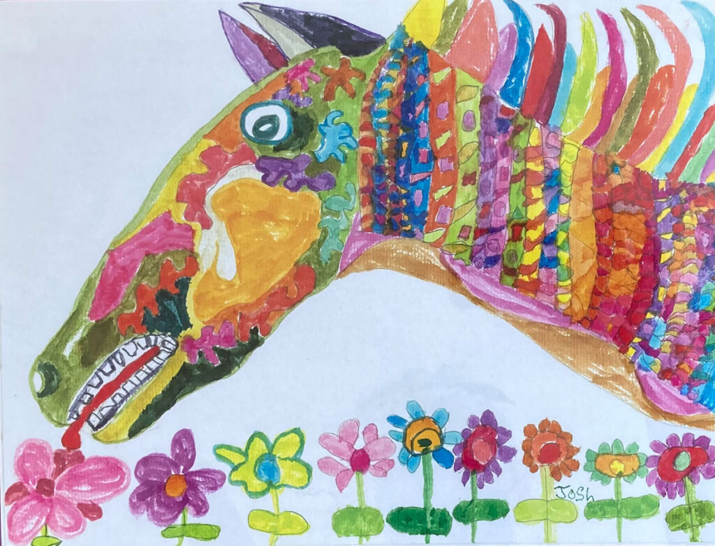 """Josh Gray's watercolor pen drawing from """"Josh's Fantastical Menagerie"""" at Left Bank Gallery, North Bennington, Vermont, 2021. (Courtesy)"""