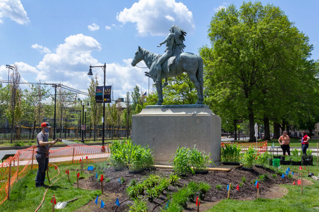 """Planting Elizabeth James-Perry's """"Raven Reshapes Boston"""" garden at the Huntington Avenue lawn on Boston's Museum of Fine Arts, May 17, 2021. (Photo © Museum of Fine Arts, Boston)"""