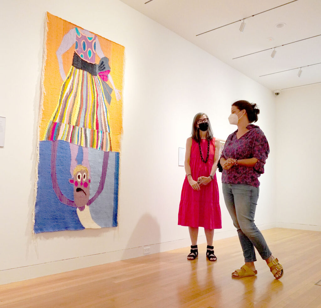 """Christina Forrer (right) with curator Patricia Hickson at """"Christina Forrer / MATRIX 187"""" at Wadsworth Atheneum Museum of Art, 2021. (Courtesy Wadsworth Atheneum Museum of Art)"""