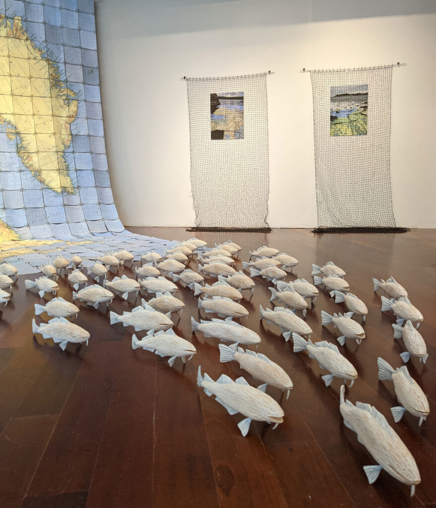 """Jessica Straus's """"Stemming the Tide"""" at Boston Sculptors Gallery, 2021. (Courtesy)"""
