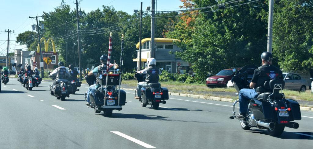 Cruiser Club Boston rides south along Route 1, through Saugus, Sept. 19, 2021. (©Greg Cook photo)