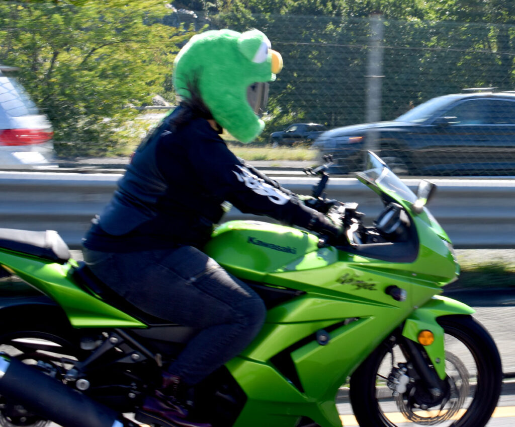 A Muppet motorcyclist rides with Cruiser Club Boston south along Route 1, through Saugus, Sept. 19, 2021. (©Greg Cook photo)