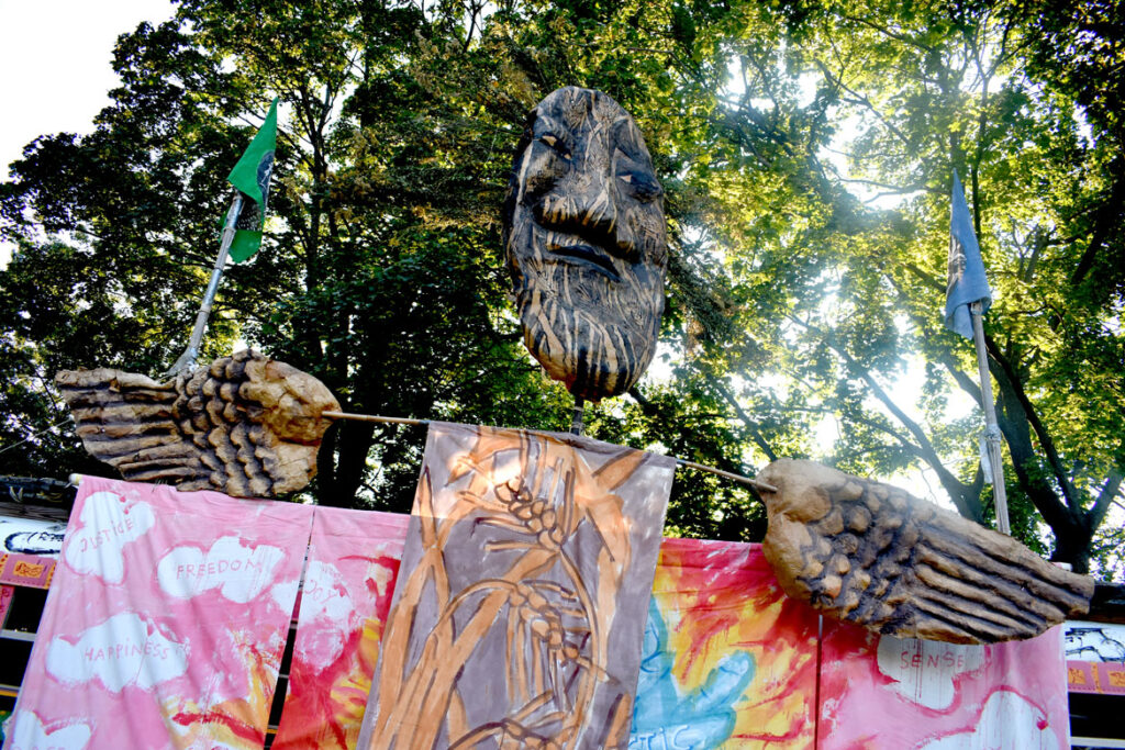 Bread and Puppet Theater at Cambridge Common, Sept. 4, 2021. (©Greg Cook photo)