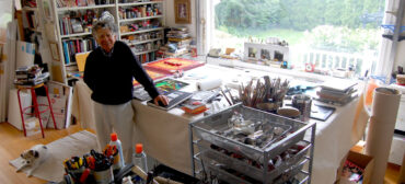 Norman LaLiberté's in his Nahant home and studio, Sept. 4, 2015. (©Greg Cook photo)