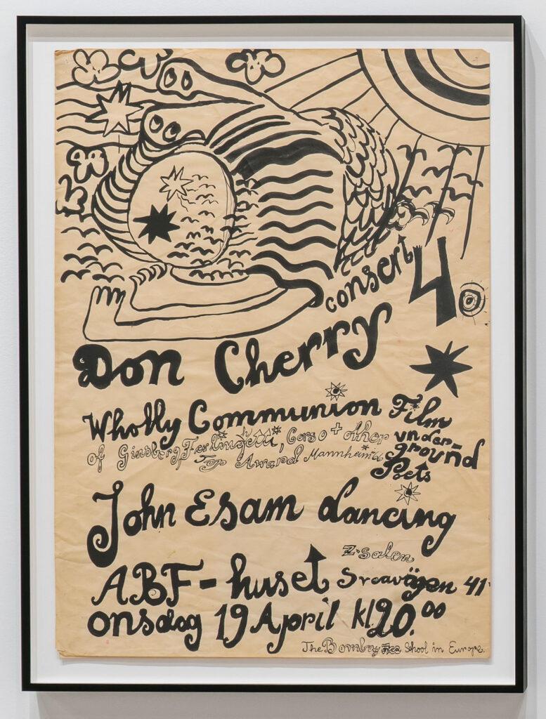 Moki Cherry, hand-painted poster for Don Cherry Concert, ABF Huset Stockholm, Sweden, 1967, ink on folded paper. (Corbett vs. Dempsey)