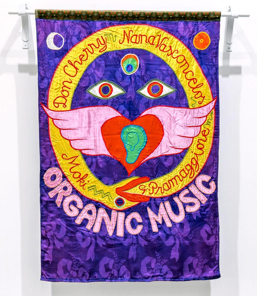 "Moki Cherry, ""Organic Music (Don Cherry, Nana Vasconcelos, Moki, G. Pramaggiore),"" 1975, textile applique. (Corbett vs. Dempsey)"