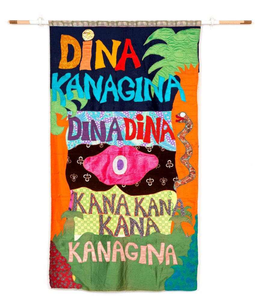 "Moki Cherry, ""Dina Kanagina,"" 1972, textile appliqué. (Corbett vs. Dempsey)"