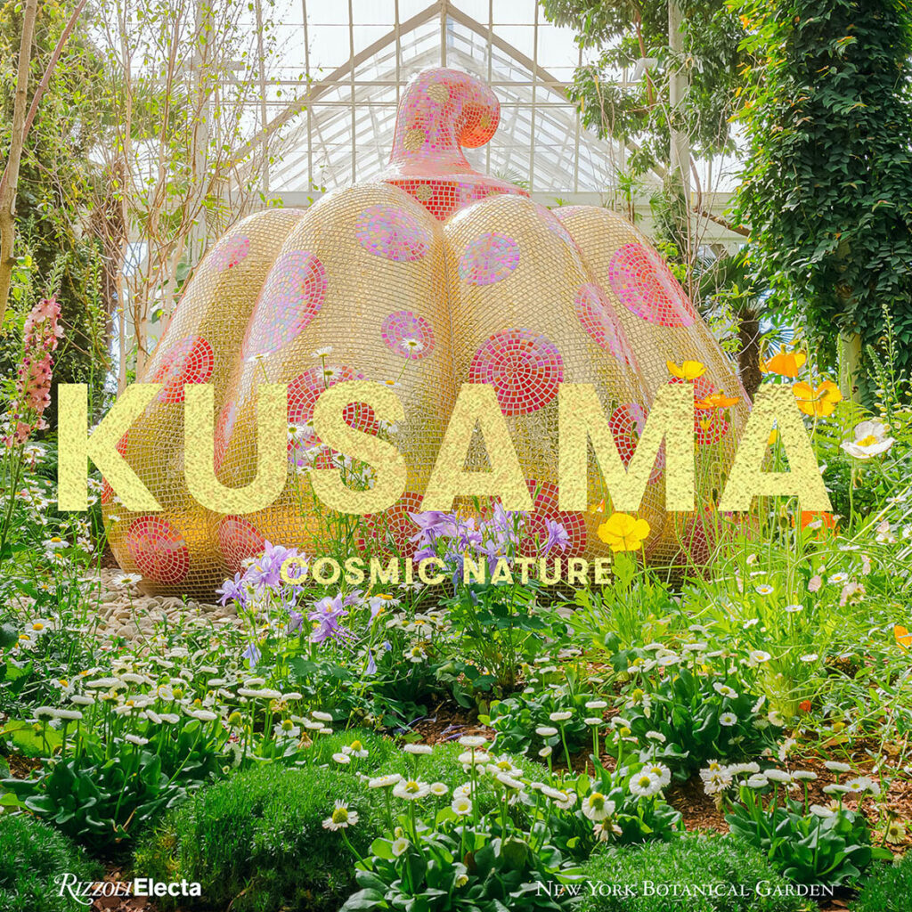 "Catalogue cover: Yayoi Kusama, ""Starry Pumpkin,"" 2015, at The New York Botanical Garden, 2021. Fiberglass-reinforced plastic, tiles, and resin. (Courtesy of Ota Fine Arts. Photo: Marlon Co, The New York Botanical Garden)"