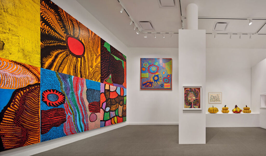 """A variety of paintings on canvas by Yayoi Kusama exhibited in """"Kusama: Cosmic Nature"""" at The New York Botanical Garden, 2021. (Photo by Robert Benson Photography)"""