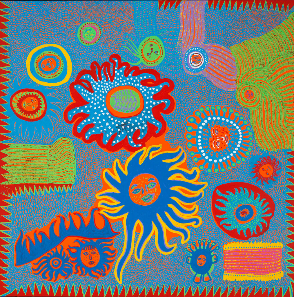 """Yayoi Kusama, """"I Want to Go to the Universe,"""" 2013. Acrylic on canvas. (Collection of the artist)"""