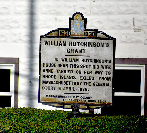 """Marker on Beale Street in Quincy marking Anne Hutchinson's home where she """"tarried"""" on her way to exile in 1638. (©Greg Cook photo)"""