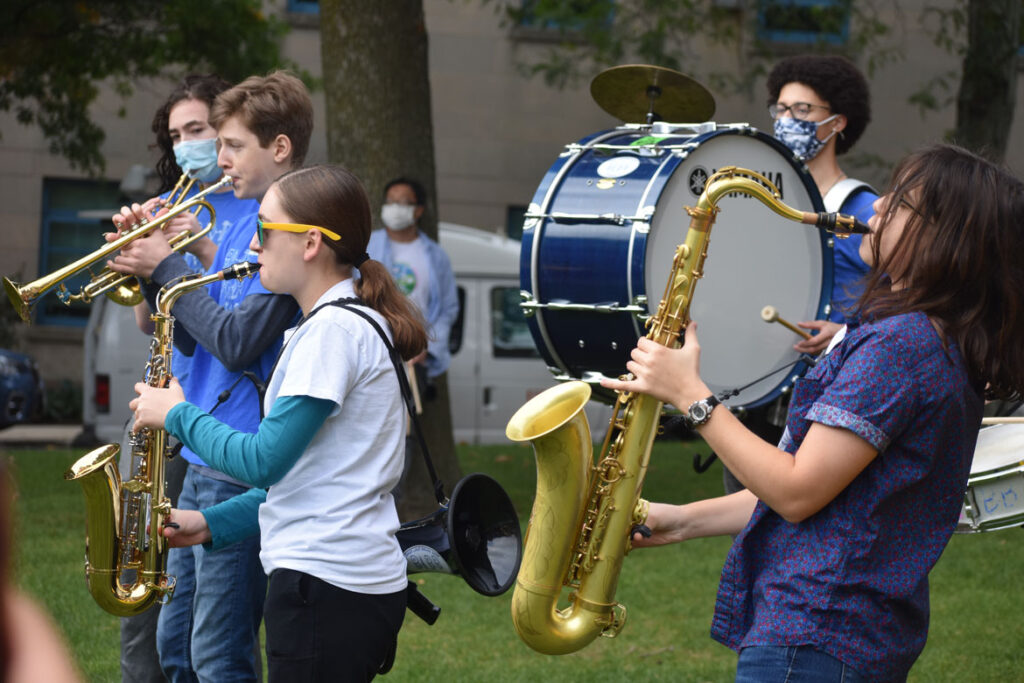 Band Land Brass Band plays at Honk For Our Future, 4 Years to Save the Planet anti-global warming rally at City Hall, Cambridge, in collaboration with Extinction Rebellion Youth, Oct. 9, 2021. (©Greg Cook photo)