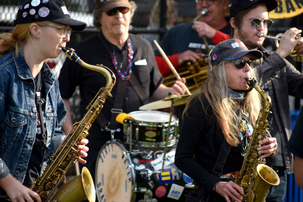 Dirty Water Brass Band performs at Nunziato Park, Somerville, Oct. 9, 2021. (©Greg Cook photo)