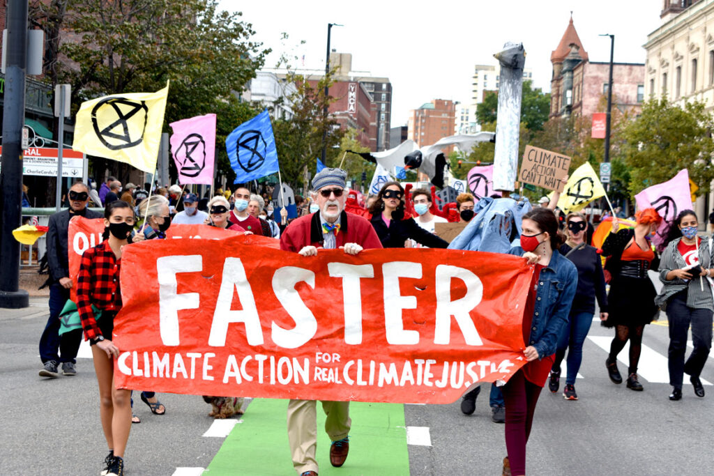 Honk For Our Future, 4 Years to Save the Planet anti-global warming march down Massachusetts Avenue, Cambridge, in collaboration with Extinction Rebellion Youth, Oct. 9, 2021. (©Greg Cook photo)
